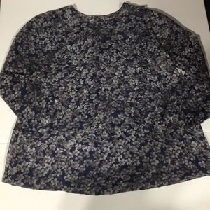 Madewell Sheer floral top blouse blue small